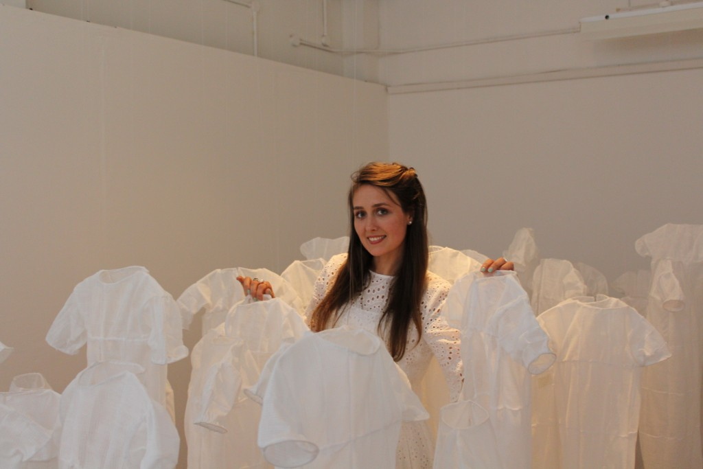 With my hospital  gown installation